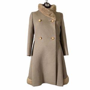 Vintage Blonde Mink & Wool Overcoat Beige Coat